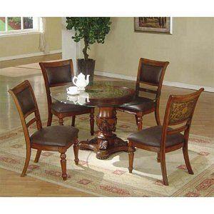 Barrett 5 Pieces Dark Wood Glass Top Round Pedestal Dining Table Set