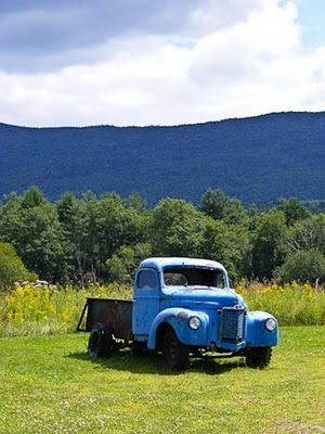 Old blue farm truck---love the colors in this photo