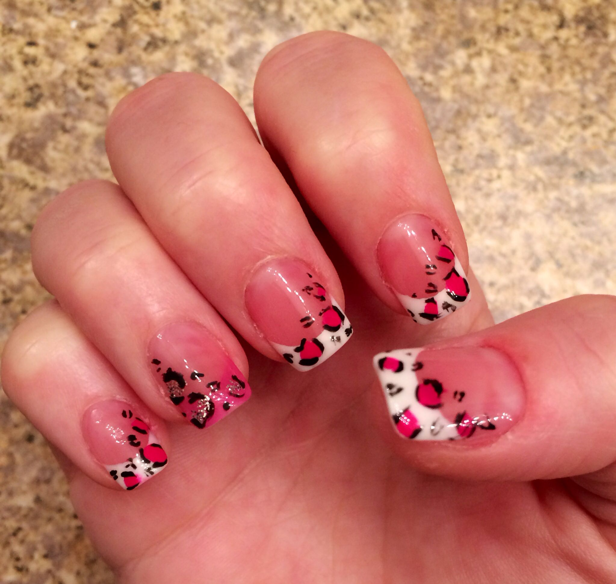 pink leopard french nails | nails | Pinterest