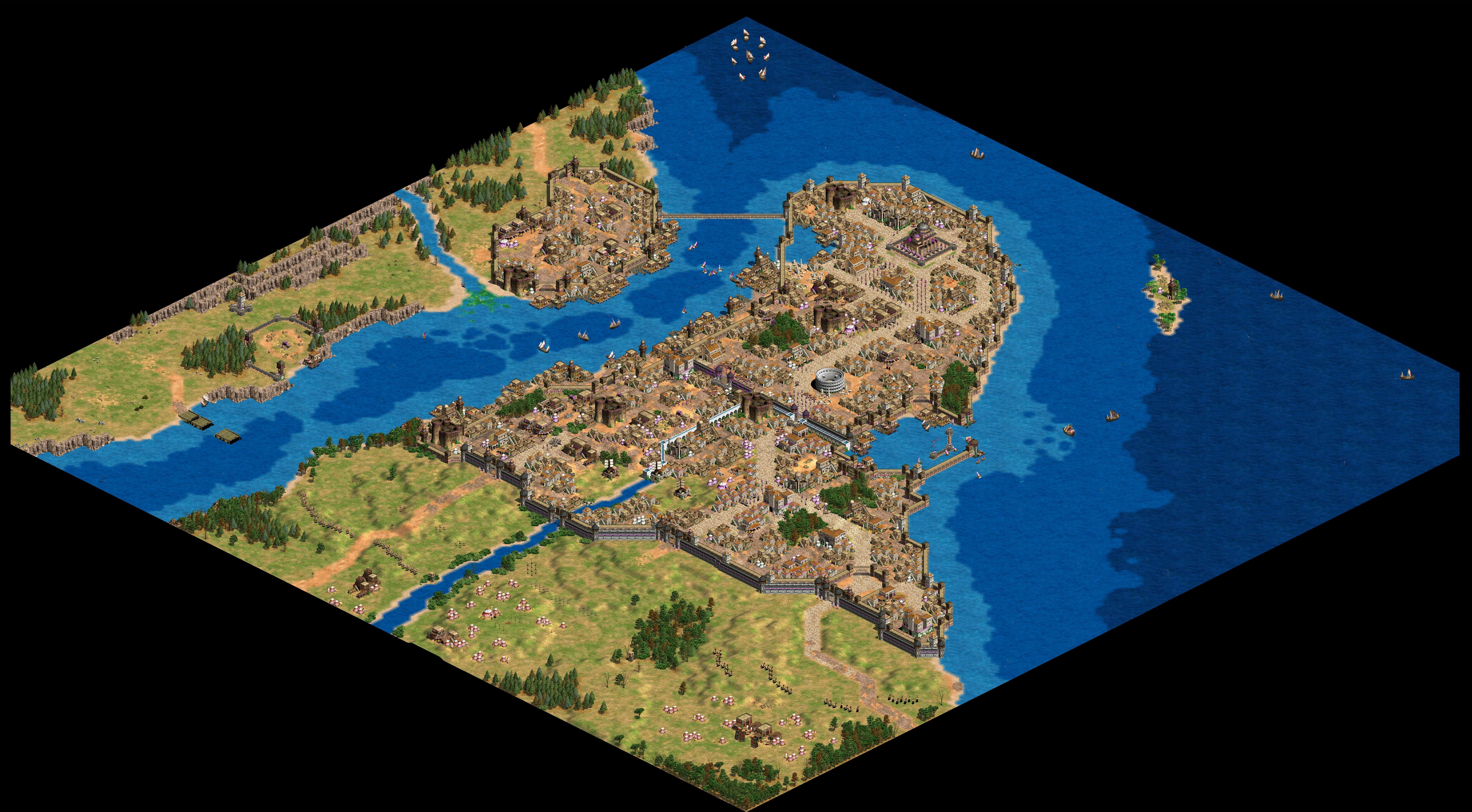 Map Of Constantinople Made Using Age Of Empires Ii With Images