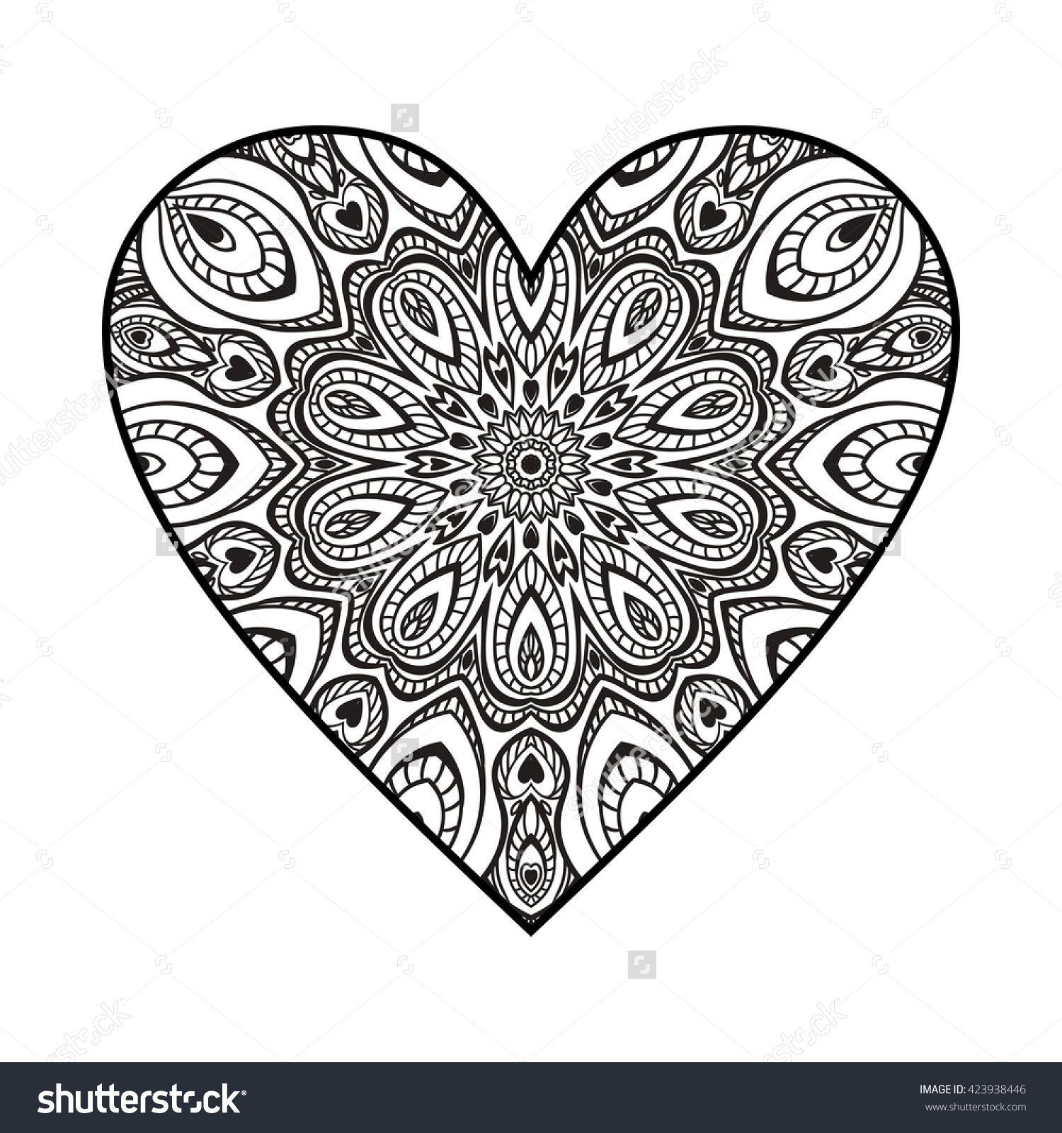 ornate heart. mandala pattern. | Coloring | Pinterest | Mandala and ...