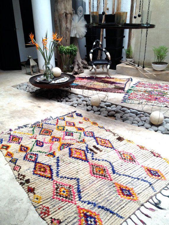 vintage moroccan rug boucherouite by bazaarliving. Black Bedroom Furniture Sets. Home Design Ideas