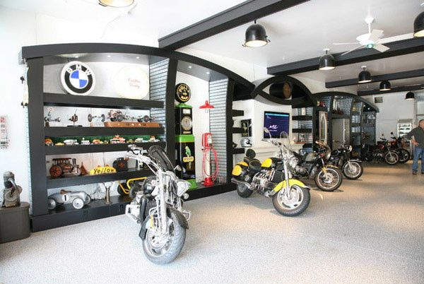 Dream Motorcycle Garages Park Your Ride In Style At Night Motorcycle Garage Garage Cafe Modern Garage