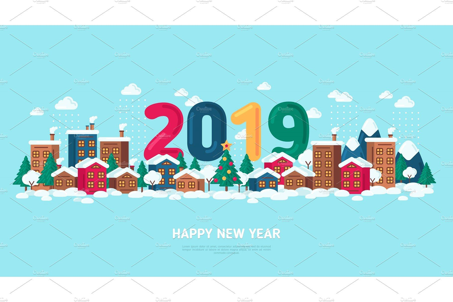 Winter Town Holidays Merry christmas poster, Christmas