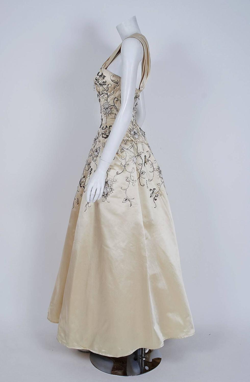 3cb3dfa1 1950's Pierre Balmain Couture Attribute Ivory Beaded Embroidered Satin  Ballgown…
