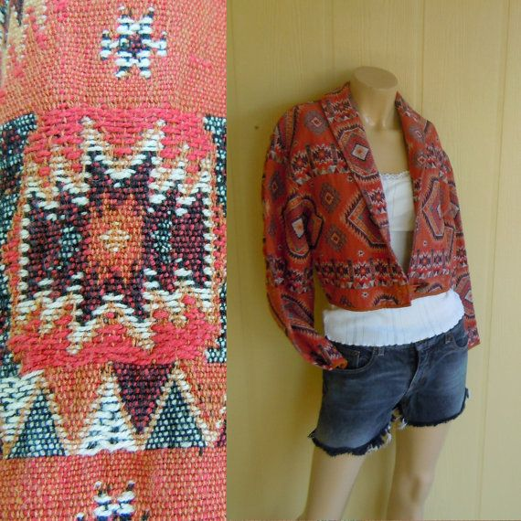 vintage navajo print jacket . cropped bomber coat . geometric southwestern . native american . pink . large from NestEggVintage on Etsy