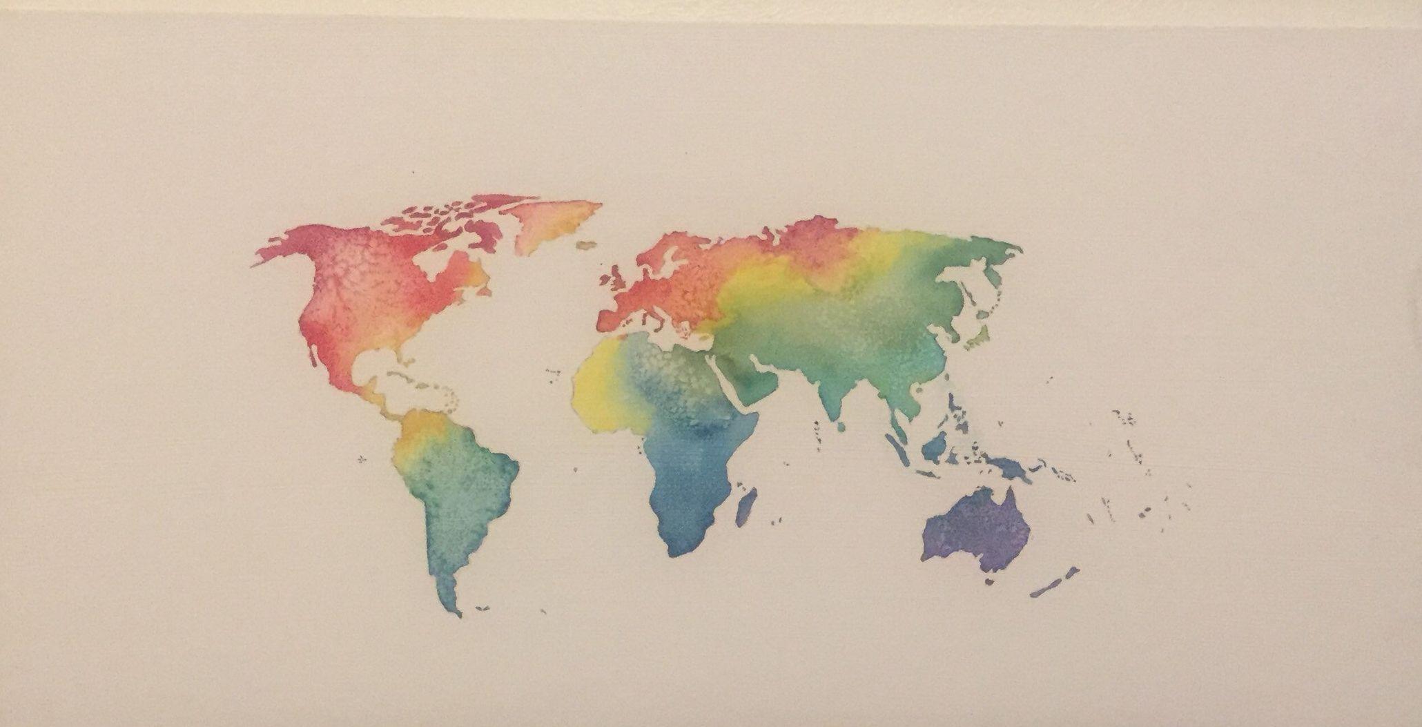 World Map Watercolor Rainbow Watercolor Canvas Watercolor World