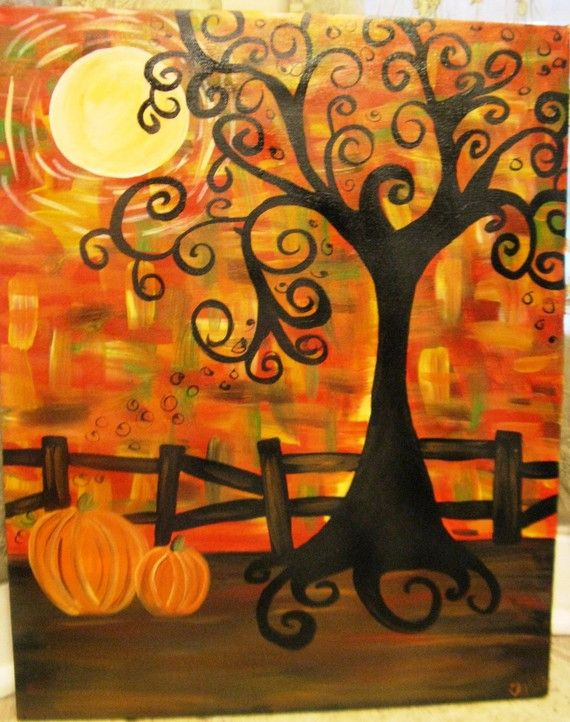Spooky Fall Tree By Tashatassin On Etsy Fall Canvas Painting Autumn Art Canvas Painting
