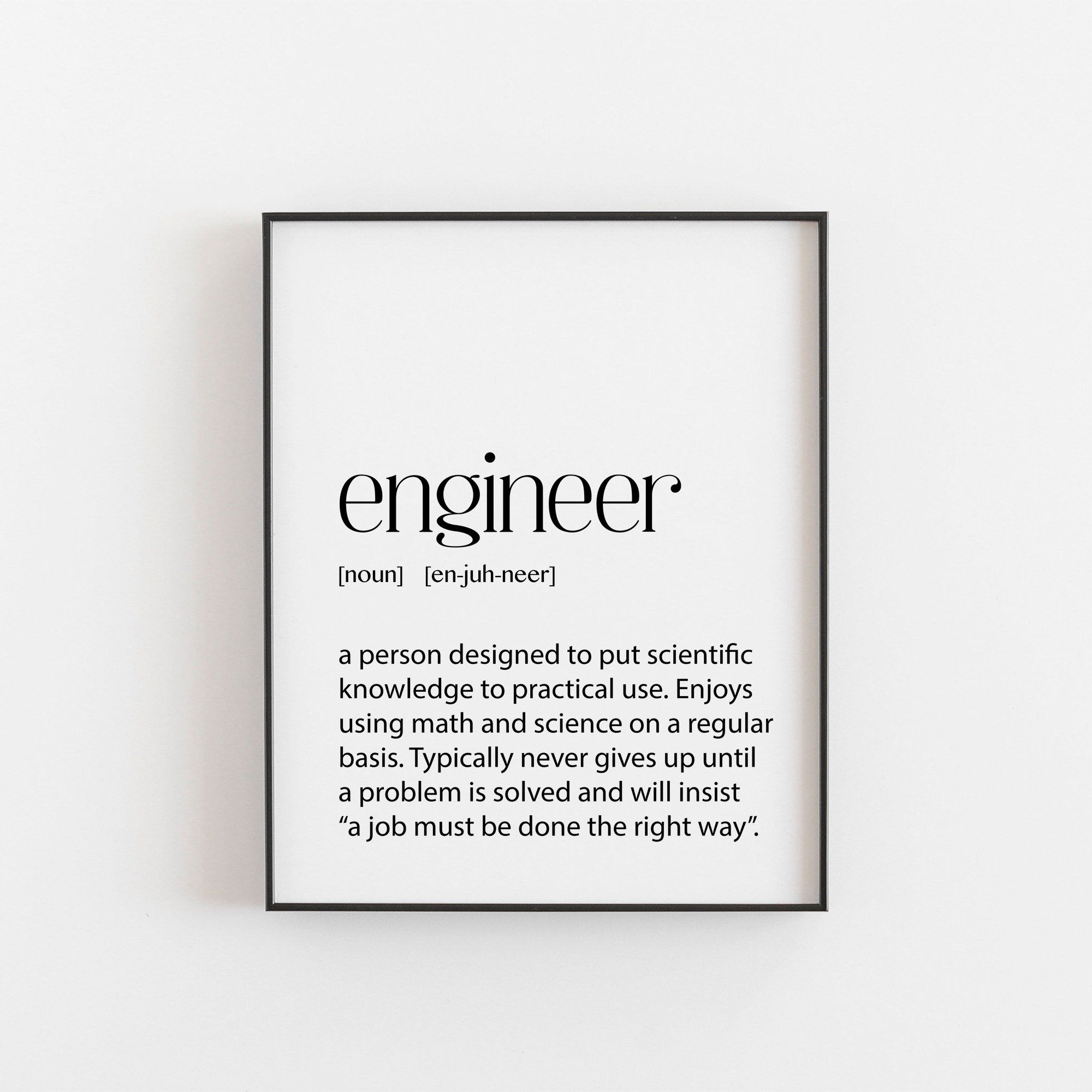 Engineer Gift Engineer Birthday Gift Engineer Christmas Etsy Engineering Gifts Engineering Quotes Framed Quotes