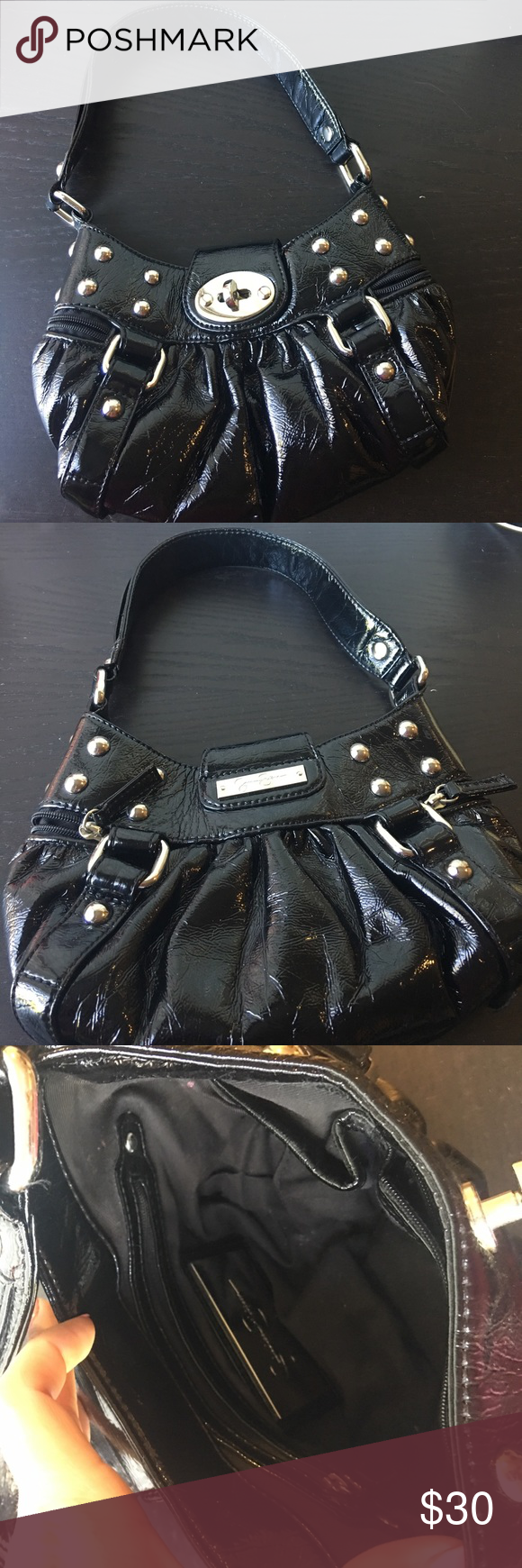 Black Jessica Simpson bag 😍 Black, shinny, Jessica Simpson bag with silver hardware. Has two small pockets with zippers on the sides, small zipper pocket on the inside, and two small pockets on the inside for holding cellphone or makeup. Great bag for a night on the town! 😍 Jessica Simpson Bags Shoulder Bags