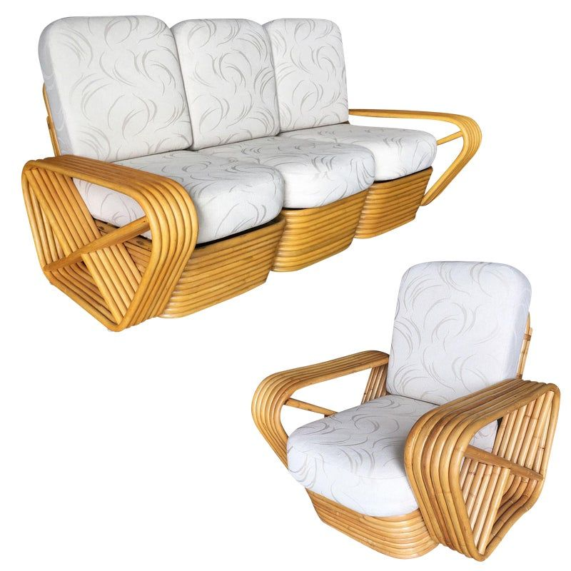 Restored Paul Frankl Six Strand Rattan Sofa And Lounge Chair Set