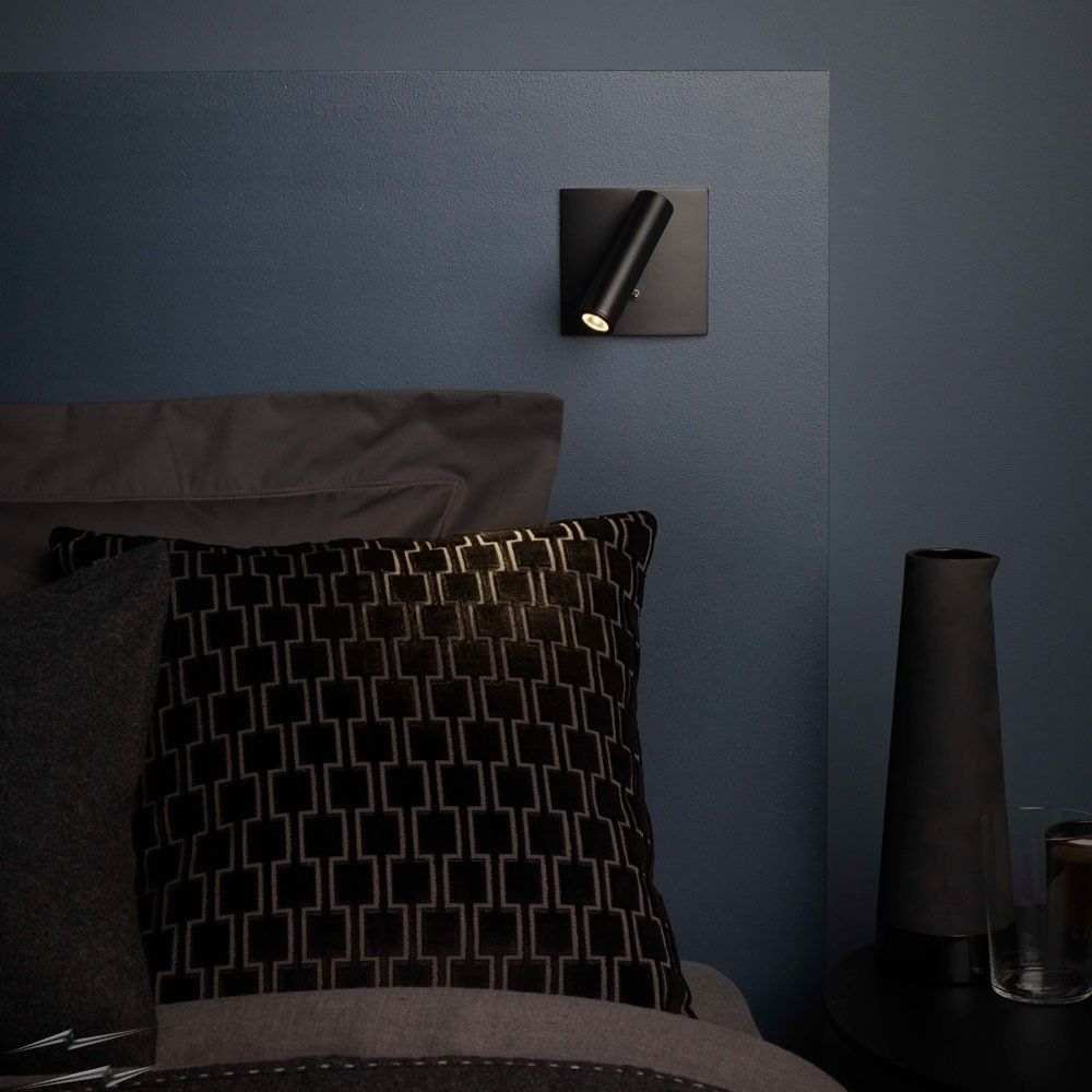 Enna Square Switched Led Wall Light In Matt Black Using Adjustable
