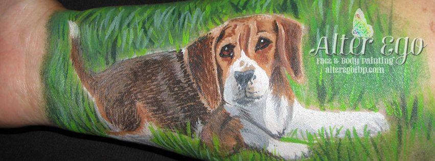 Cute Beagle Puppy Arm Face Paint Doodle Aefbp Cute Beagles
