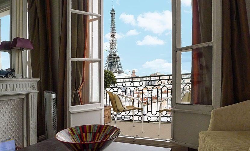 Eiffel Tower Views From The 2 Bedroom Cognac Apartment In #Paris!  #ParisPerfect #rental #travel #vacation #parisian #apartment