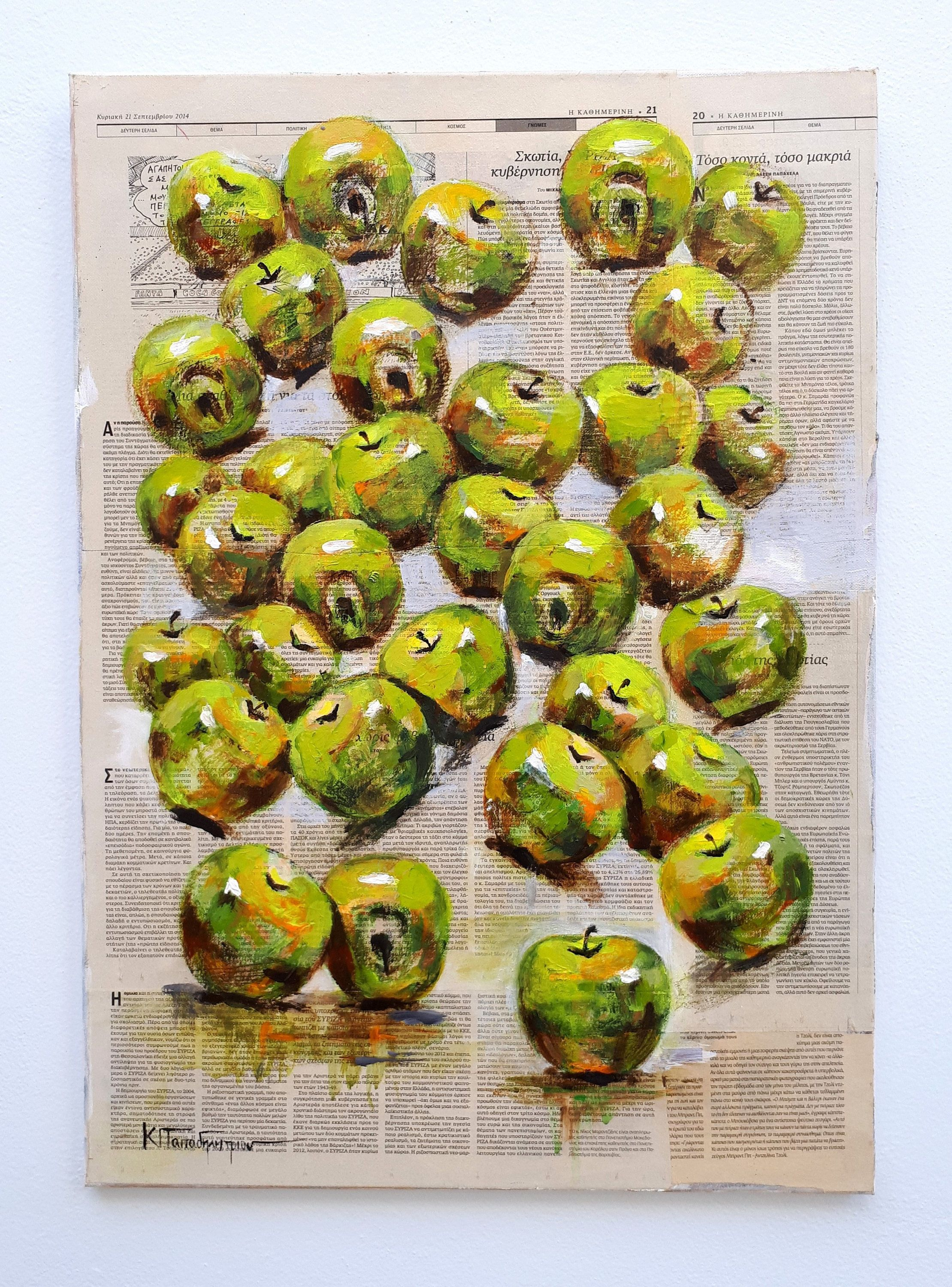 Still life-Mixed media on canvas,Fruit Painting,Apples Painting ...