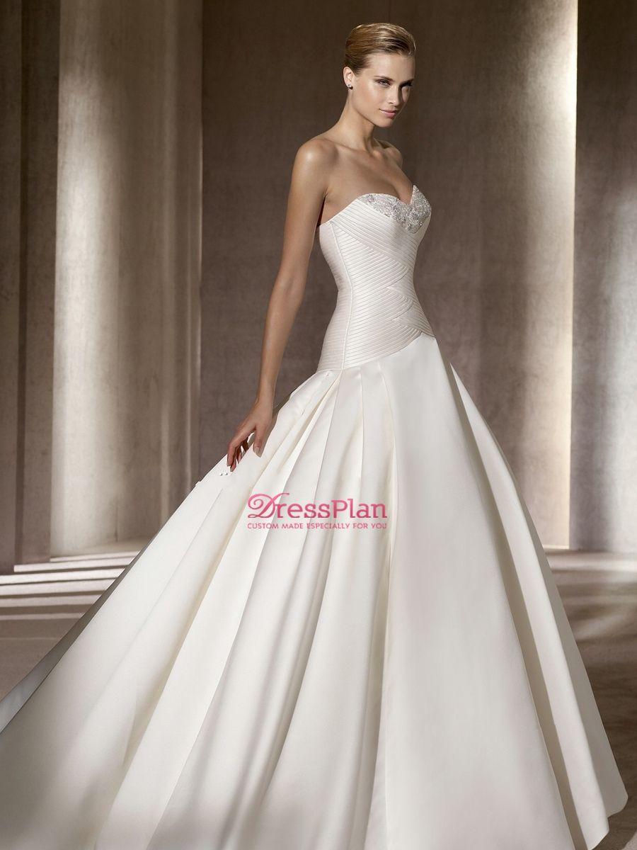 Dropped Waist Ball Gown Wedding Dress