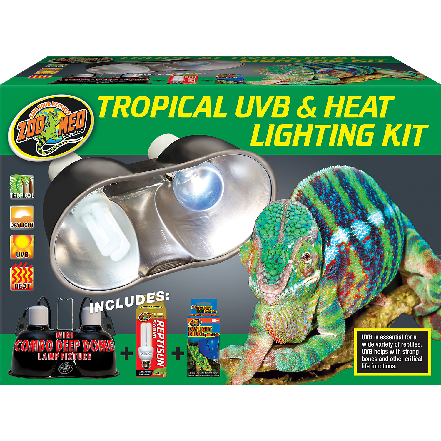 Zoo Med Tropical Uvb Amp Heat Lighting Dual Kit 100 Watt