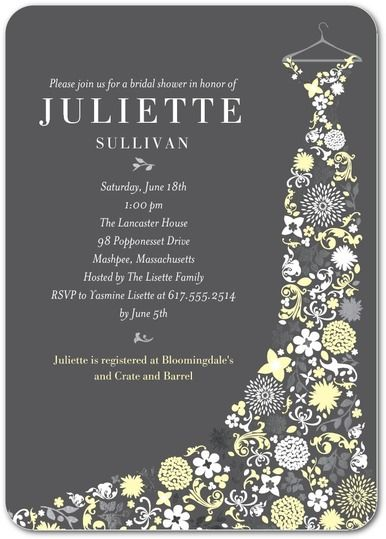 Wedding Paper Divas Personalized Bridal Shower Invitations Garden Gowned Featuring A