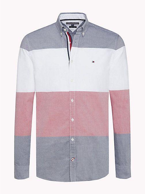77ac9a25274 TOMMY HILFIGER Camisa de rayas color block de corte regular - BRIGHT WHITE  MULTI - TOMMY HILFIGER Hombre - imagen principal