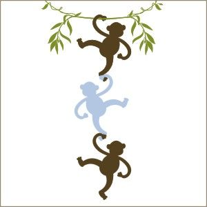 Monkeys Hanging Out Wall Decal Vinyl Stencil Monkeys