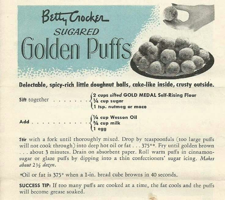 1950s Food 58 Vintage Recipes Worth Trying Today: Betty Crocker Sugared Golden Puffs