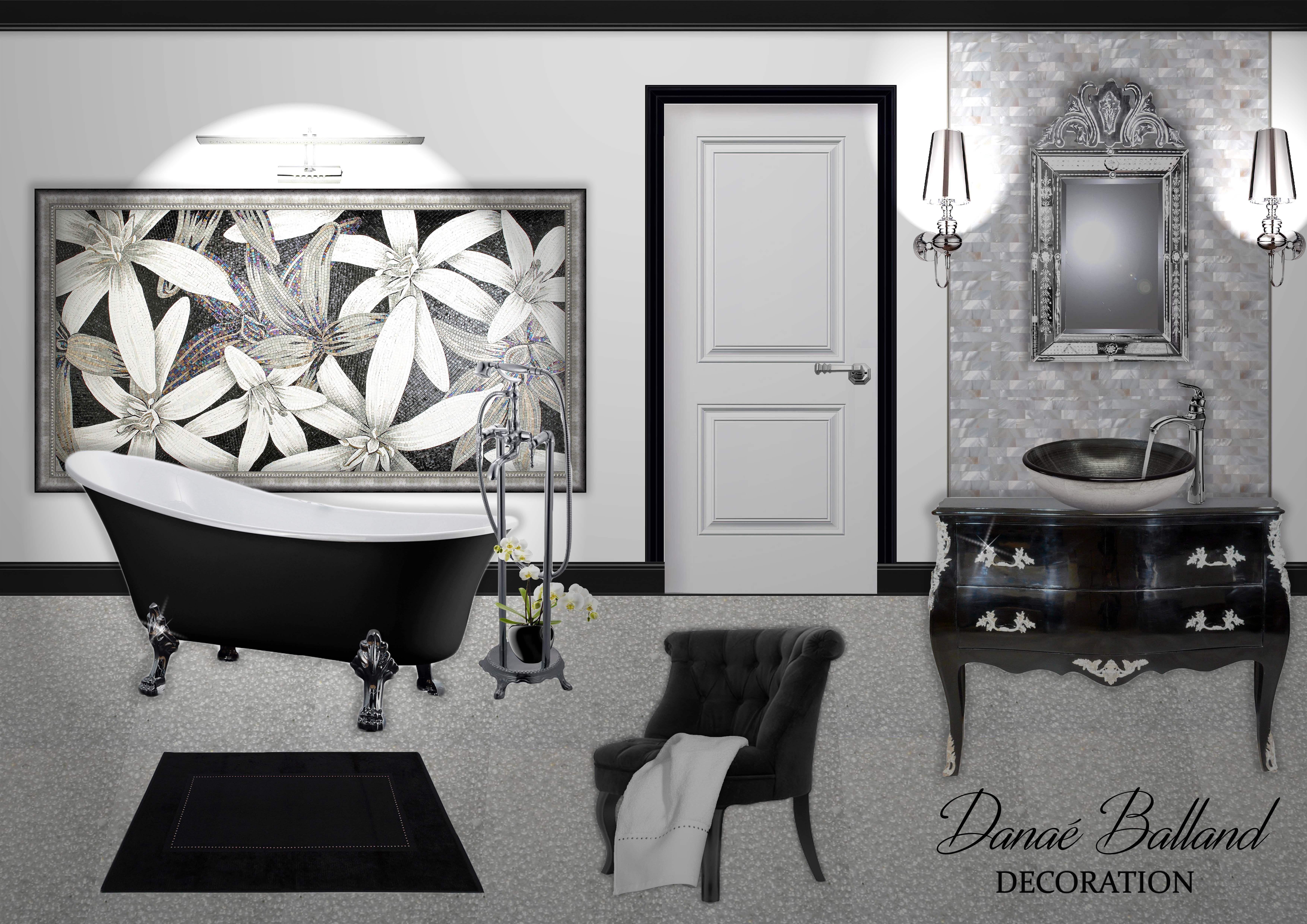 planche tendance ambiance d coration int rieure salle de bain bathroom noir blanc gris. Black Bedroom Furniture Sets. Home Design Ideas