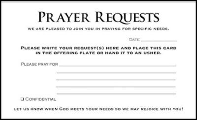 Prayer Request Cards, 50 | Church Bulletins | Prayer request
