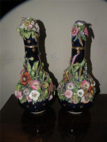 PR Derby Antique Cobalt Porcelain Flower Encrusted Scent Bottles C 1806 1825   eBay