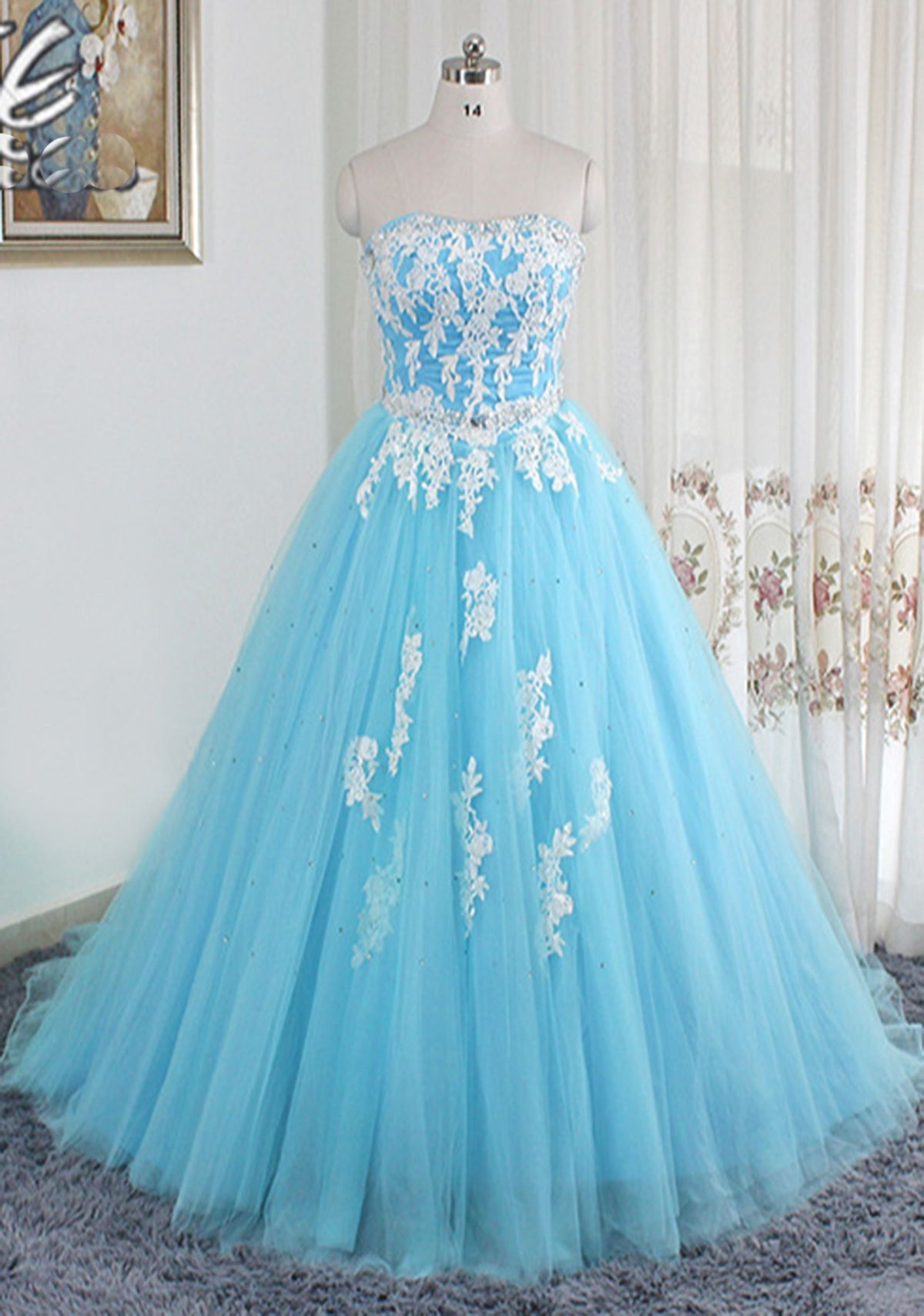 Blue long tulle strapless A-line prom dresses, sweetheart dress for ...