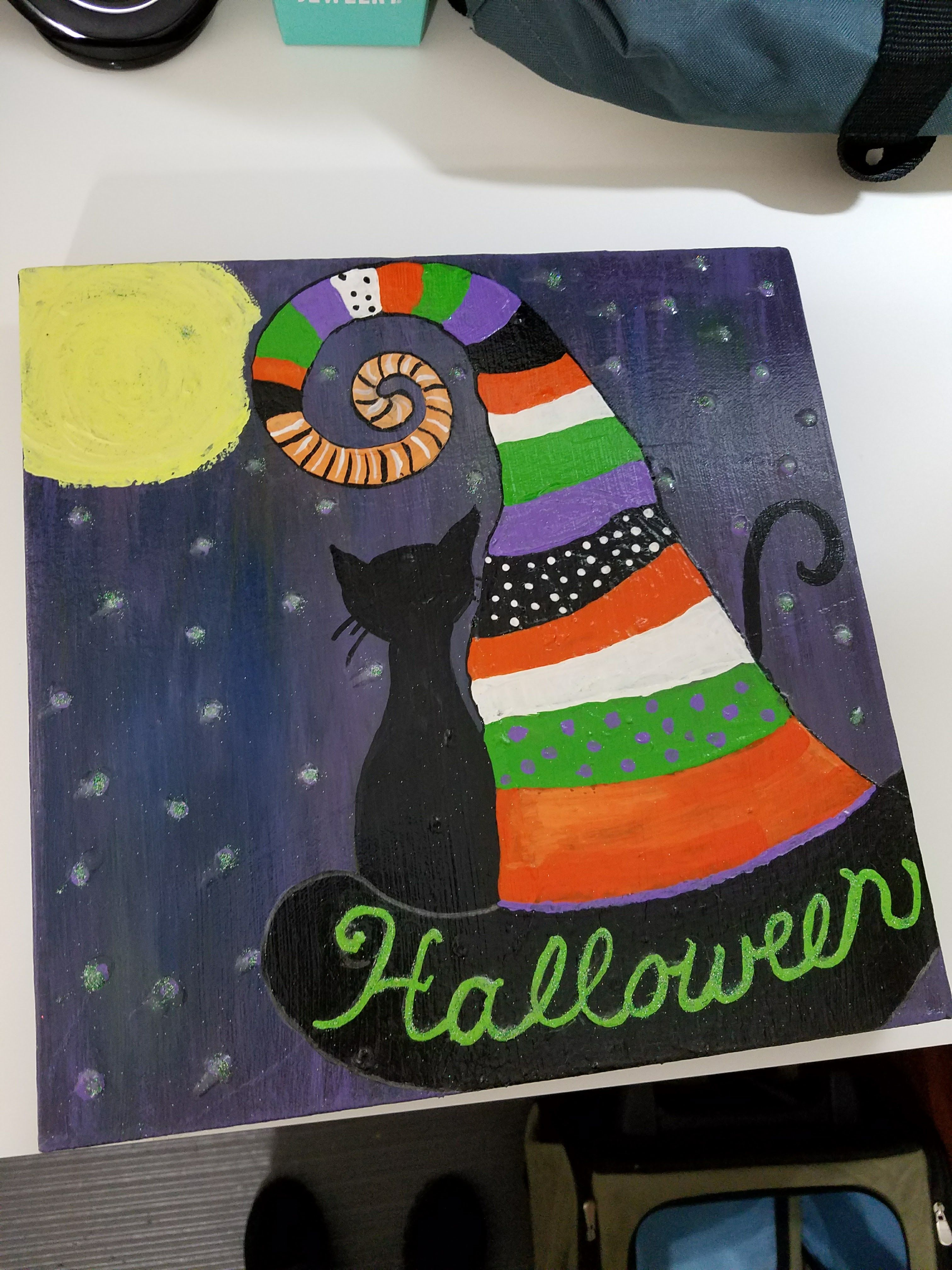 Halloween Colorful Witch Hat And Black Cat Painting 12x12