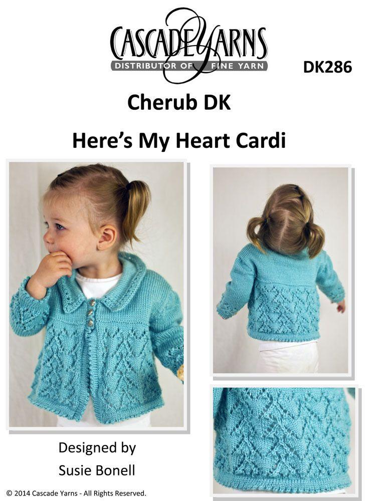 Heres My Heart Cardi In Cascade Cherub Dk Dk286 Free Baby