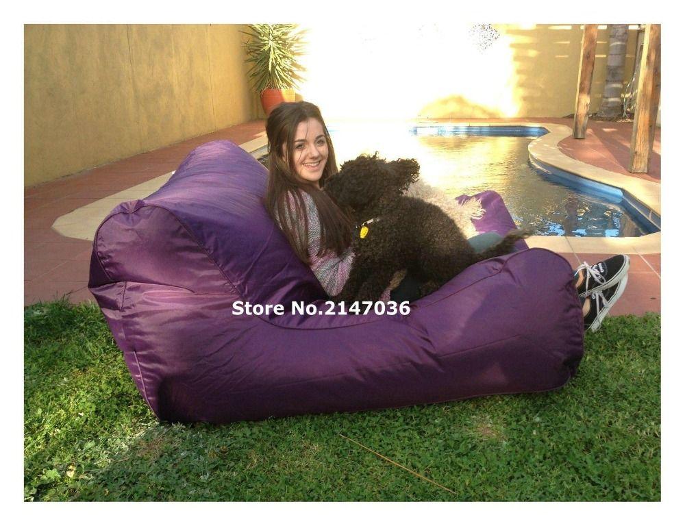 Majestic Home Goods Purple Bean Bag Chair Lounger Navy Blue