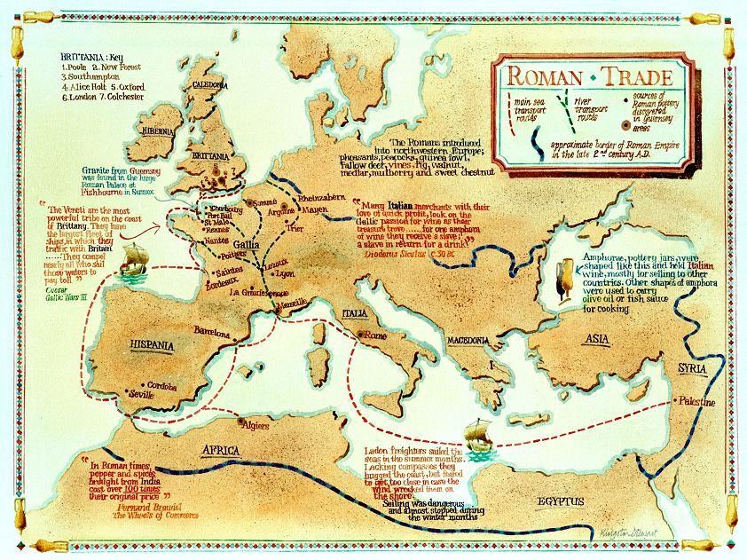 Map of Roman era maritime trade routes via Photobucket probably