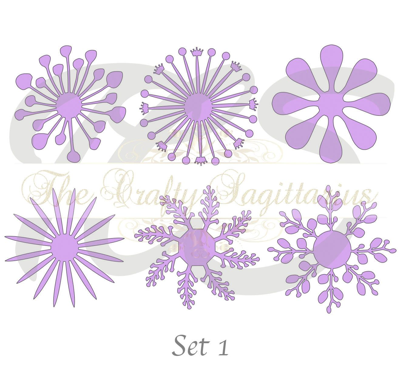Set 1 Svg Png Dxf 6 Different Flat Center For Paper Flowers