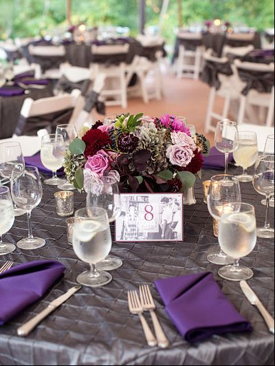 Grey Tablecloth With Purple Napkin How Convenient These Are The