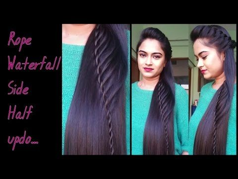 Hairstyles For Medium To Long Hair Rope Waterfal Half Updo Indian Party Hairstyles Youtube Indian Party Hairstyles Long Hair Styles Half Updo Hairstyles