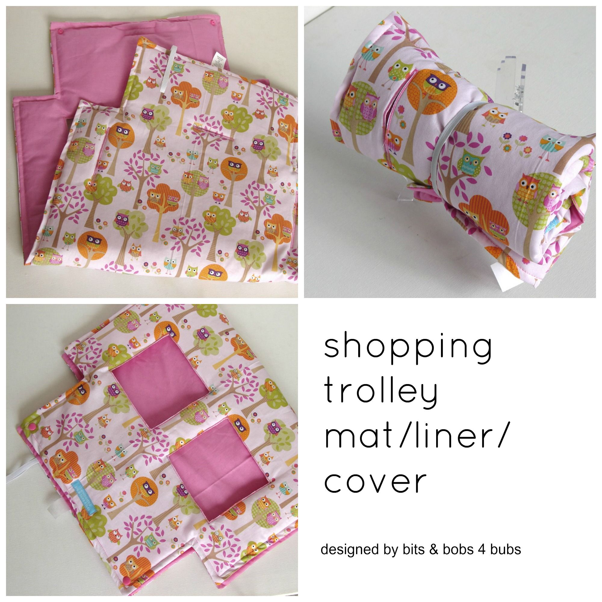 Girls Pink Owl Print Pattern Shopping Trolley Mat Liner