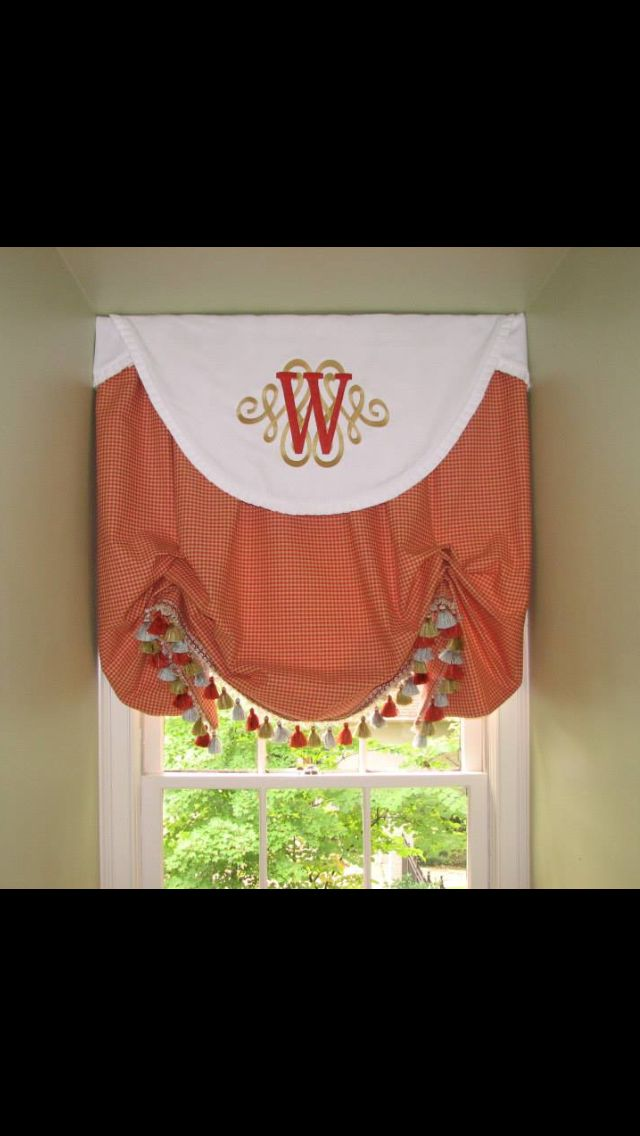 Monogrammed Valance On A Relaxed Balloon Shade A Shade