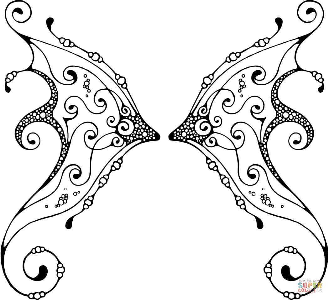 Fairy Wing with Pattern Coloring page   Free Printable Coloring ...