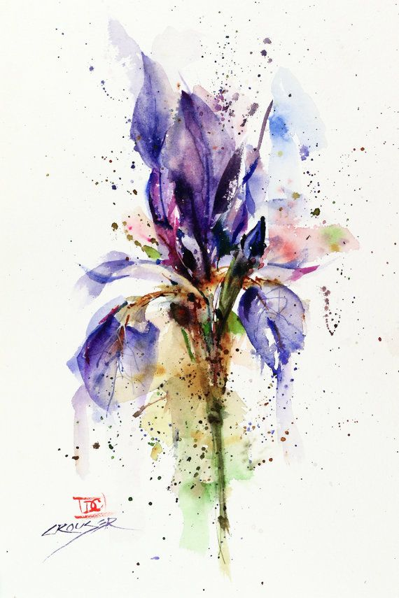 Iris Floral Watercolor Print Flower Painting Watercolor Flower