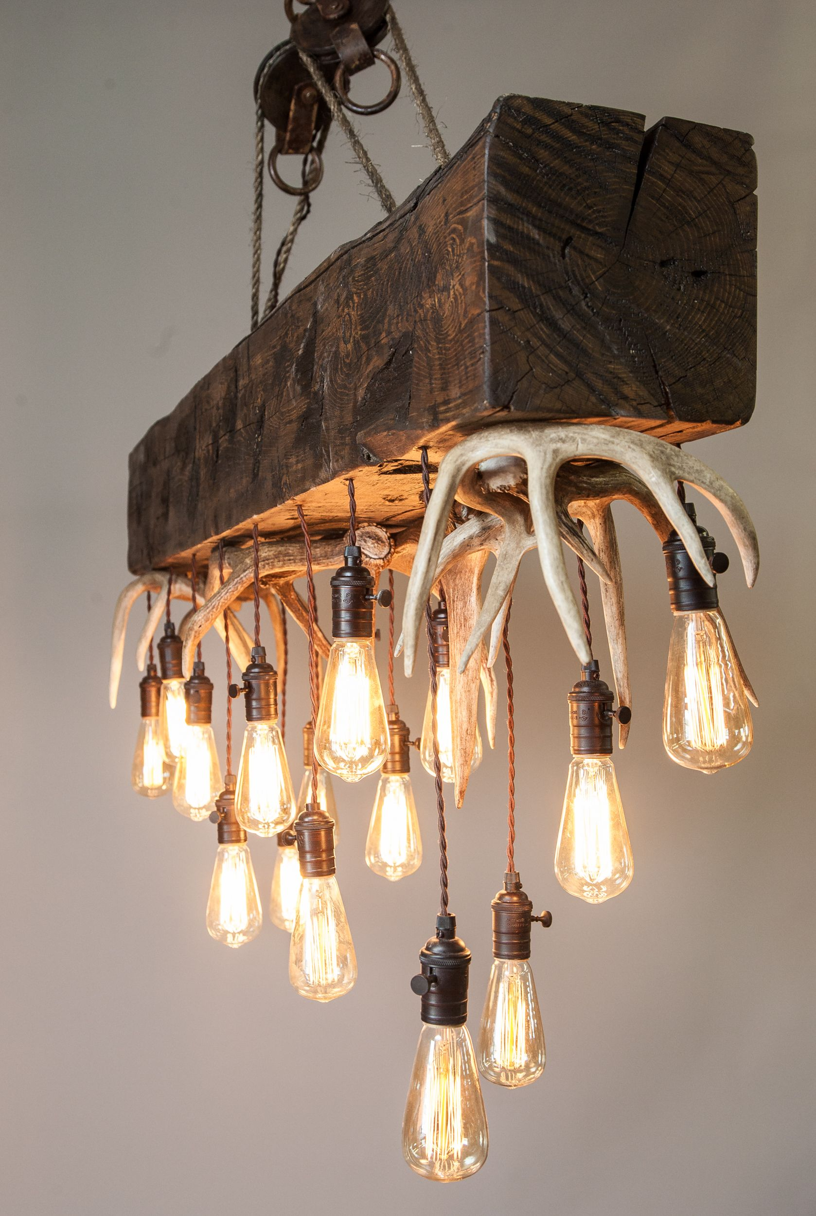 Mule deer shed antlers finished timber as the focal point in our new mountain modern antler chandeliers and custom antler home furnishings arubaitofo Image collections