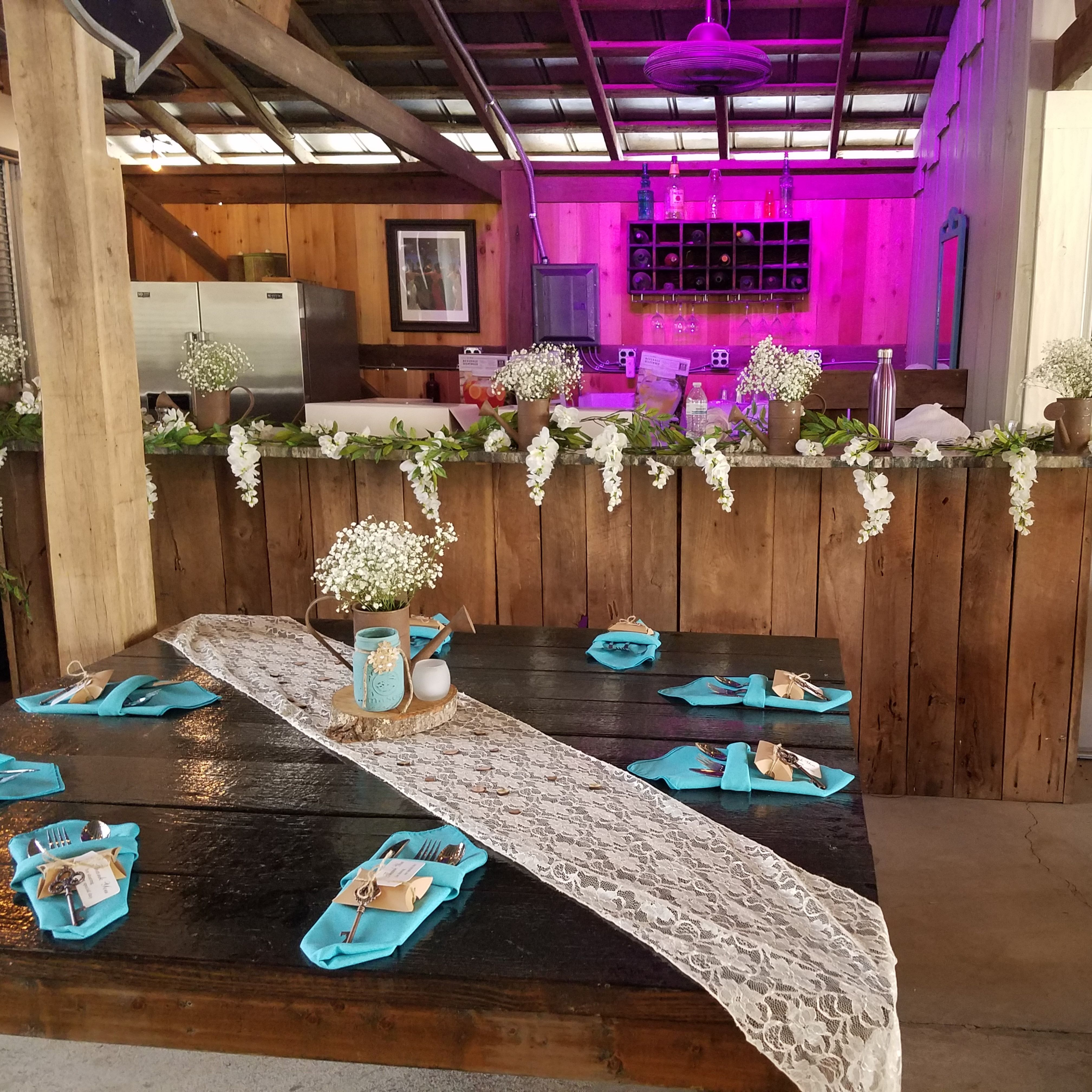Rustic Wedding Decorations For Indoor And Outdoor Settings: Rustic Wood Table With A Lace Runner, Wood Slice, Rustic