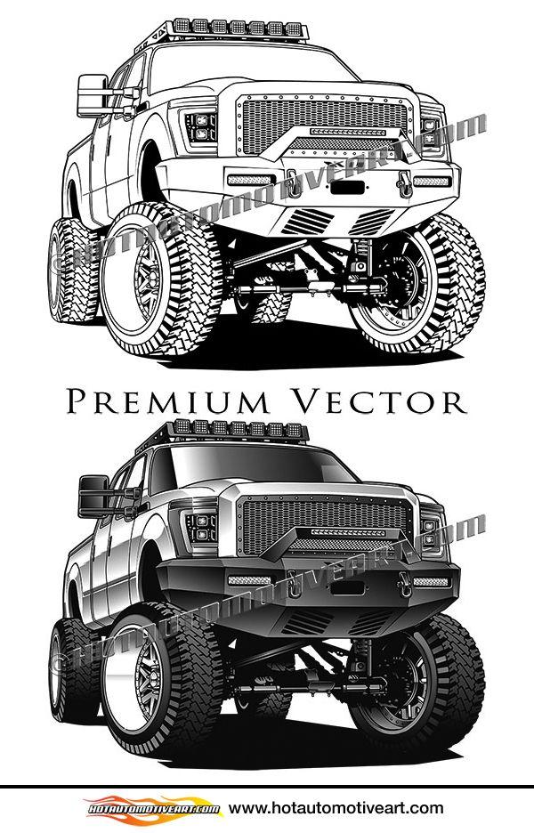 2017 Ford F-250 Custom lifted 4x4 truck vector clip art ...