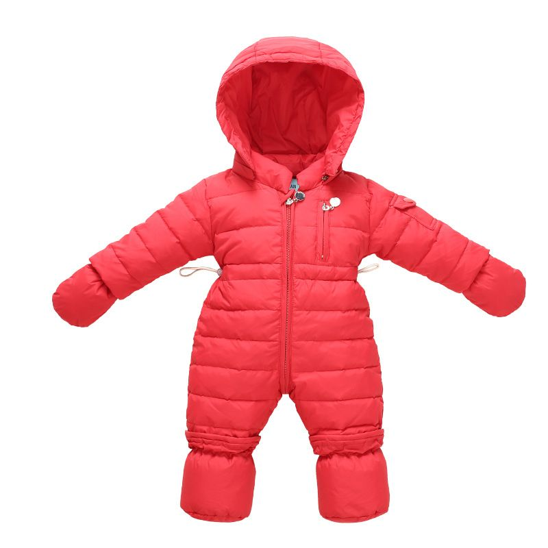 c6a0376fe 2017 snow overalls Siamese Down jacket solid color hooded neonatal ...