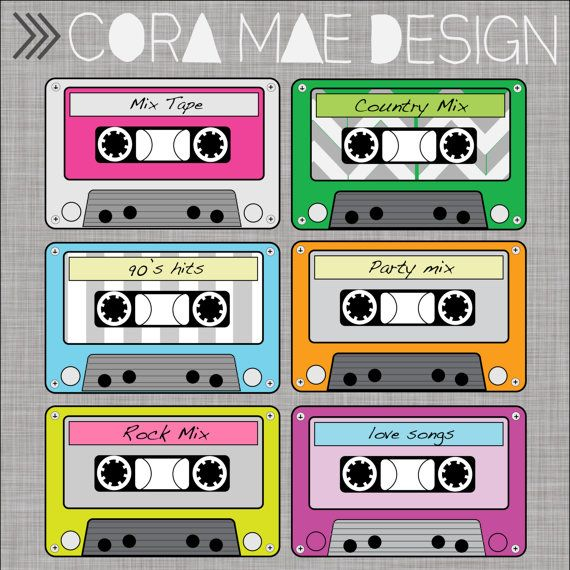 Cassette Tape Clipart 6 Pdf Files Png Upon Request 300 Dpi Resolution Transparent Background Party Invite Template 80s Theme Clip Art