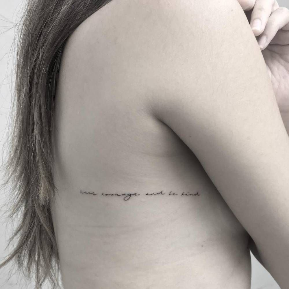 Have Courage And Be Kind Tattoo On The Right Side Ribcage Rib