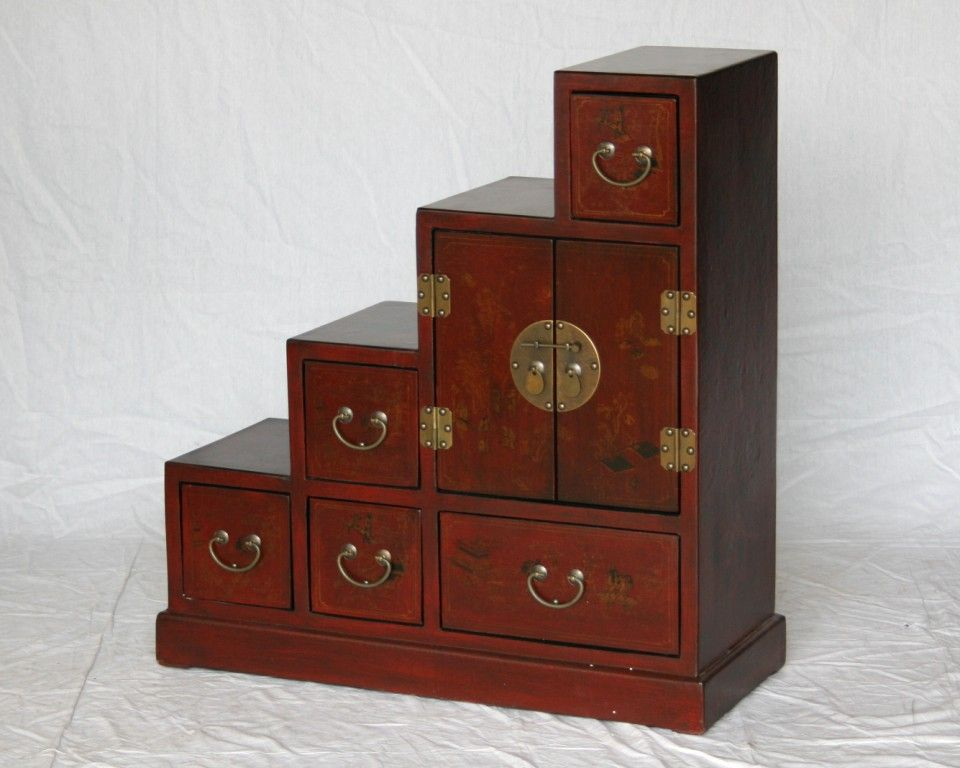 Red Color Tamsu Step Cabinet With Chinoserie Design Furniture