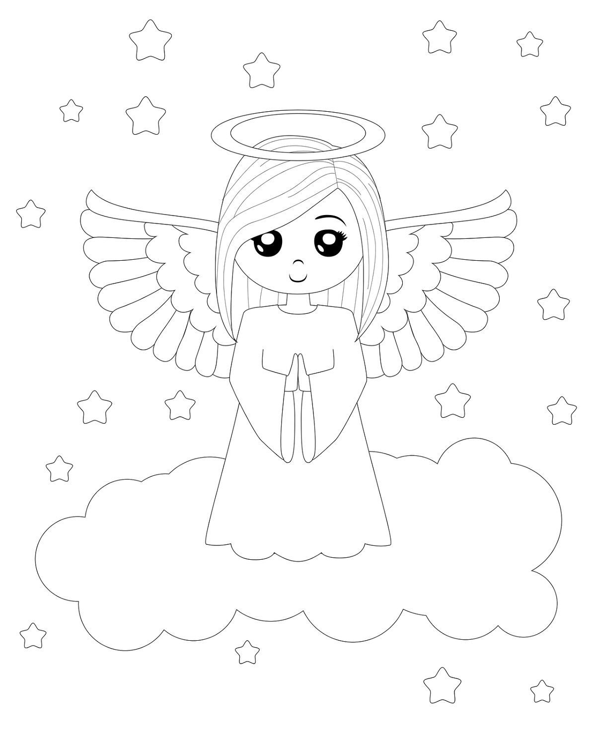 Angel Coloring Pages For Kindergarten