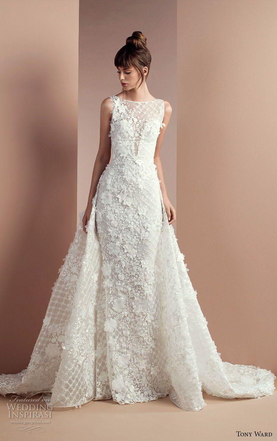 Antique cream wedding dress  tony ward  bridal sleevless illusion bateau sweetheart neckline