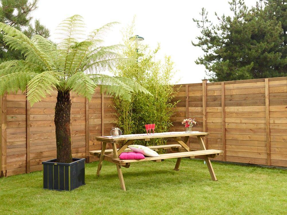 Lames bois empilables milano raidisseur raidisseur cl ture bois ext rieur jardin - Jardin cloture amenagement ...